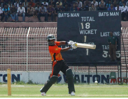 Brothers Union batsman Nafees Iqbal slices one through cover during his 150 in the Walton Dhaka Premier Division Cricket League