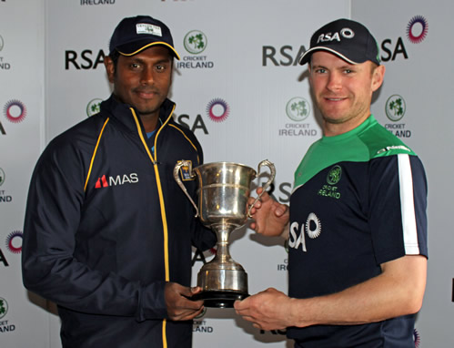Sri Lanka captain Angelo Matthews and Ireland captain William Porterfield with the RSA Insurance ODI Series trophy