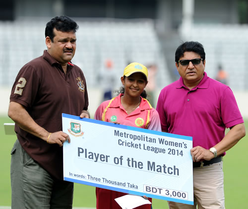 Sharmin Sultana receives the Player of the Match award