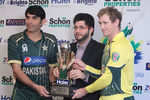 Misbah-ul-Haq and George Bailey with the ODI trophy