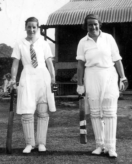 J Liebert (left) and AF Bull going out to bat 27th August 1934