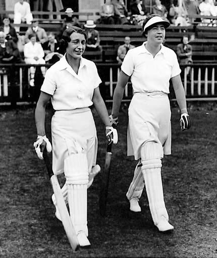 Opening for England Women in the 2nd Test, 1937