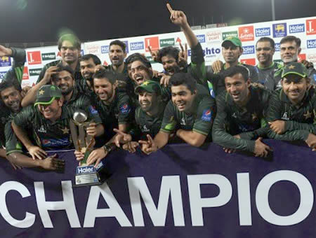 Pakistan players celebrate the T20 Series win