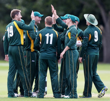 Guernsey celebrate after taking a wicket