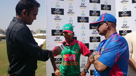 The Bangladesh captain during the post-match presentation