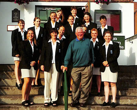 England Women team with umpire David Shepherd - 3rd photo