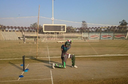 A batsman in the nets during the training camp for the New Zealand series