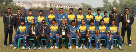 Sri Lanka Under-19s during the warm-up match against New Zealand Under-19s