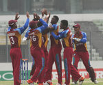 West Indies celebrate after winning the final
