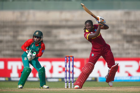 Stafanie Taylor, Captain of the West Indies in action with Nigar Sultana of Bangladesh