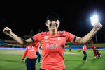 Charlotte Edwards, Captain of England celebrates her sides win against the West Indies