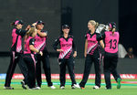Sophie Devine of New Zealand celebrates the wicket of Chloe Tryon of South Africa