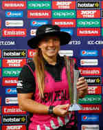 Leigh Kasperek of New Zealand poses for the camera with her Player of the Match award