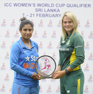 Mithali Raj and Dane van Niekerk with ICC WWCQ 2017 trophy