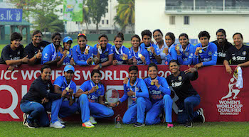 India Women celebrate their win at the ICC Women's World Cup Qualifier 2016/17