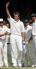 Glenn McGrath celebrating his 500th wicket