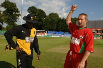 Captains Richie Richardson and Matthew Maynard toss before the match