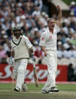 Simon Jones dismissed Jason Gillespie at Old Trafford