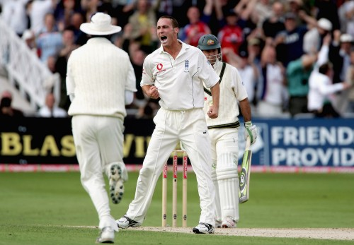 Simon Jones is in the wickets again at Nottingham, as he traps Ricky Ponting leg before