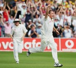 Simon Jones celebrates being on a hat-trick after dismissing Shane Warne at Trent Bridge