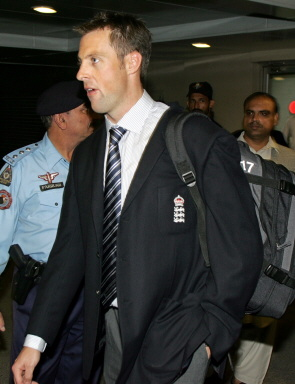 Marcus Trescothick arrives at Islamabad International Airport