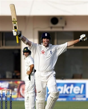 Marcus Trescothick celebrates after scoring a century