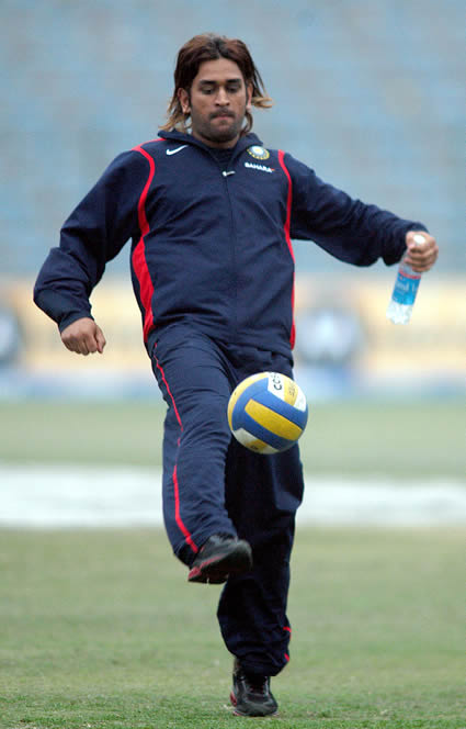 Dhoni playing football