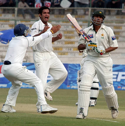 Irfan Pathan celebrating the wicket of Younis Khan