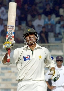 Younis Khan raises his bat