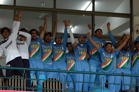 Indian team celebrates after his victory in series