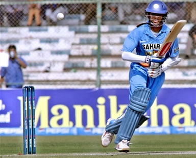 Rahul Dravid plays a shot