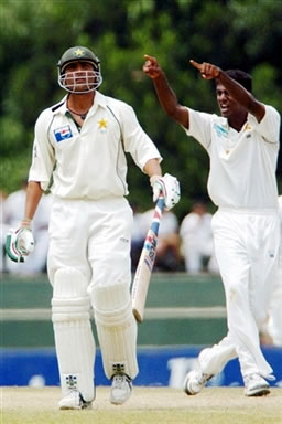 Maharoof celebrates the dismissal of Younis Khan