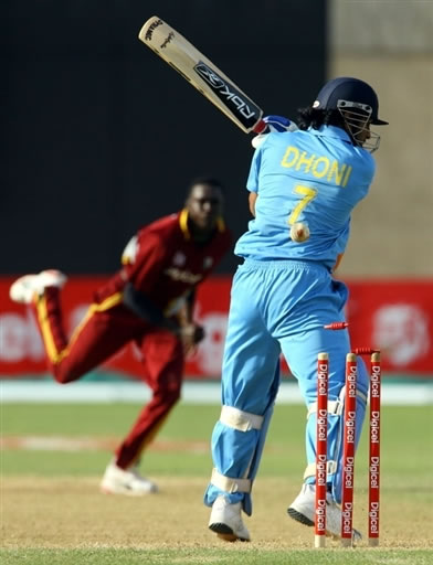 Dhoni is bowled out