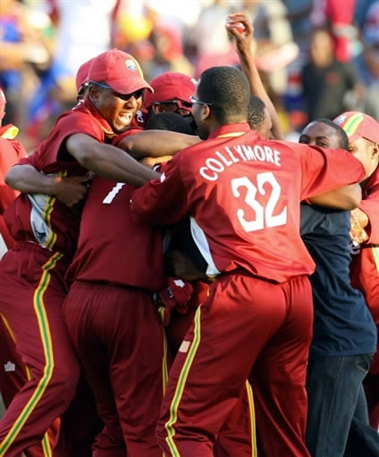 West Indies players celebrate after winning the match