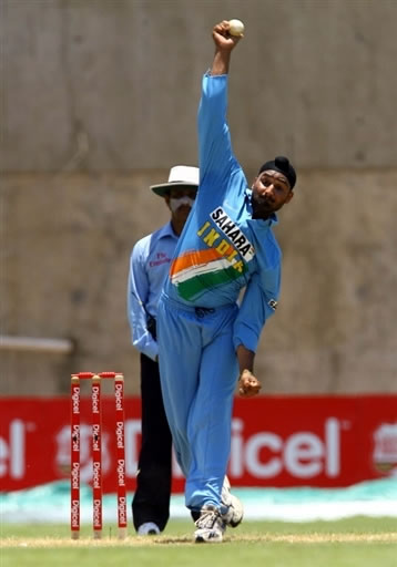 Harbhajan Singh delivers a ball