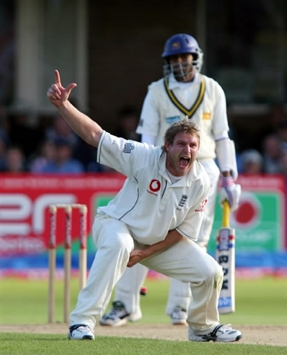 Hoggard celebrates the wicket of Dilshan
