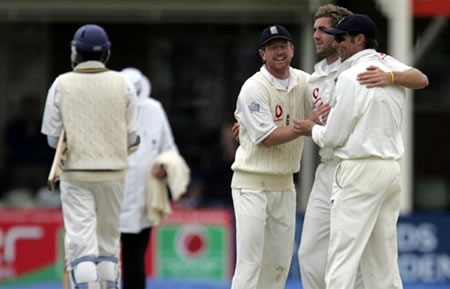 Plunkett celebrates the wicket of Kulasekara