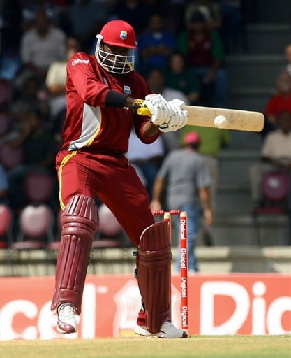 Gayle plays a cut shot