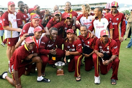 West Indies team celebrate their series win against India