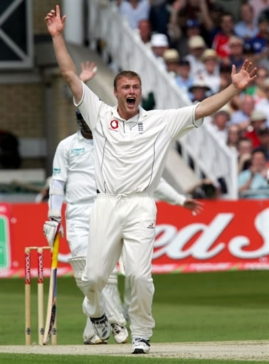 Flintoff celebrates after taking a wicket