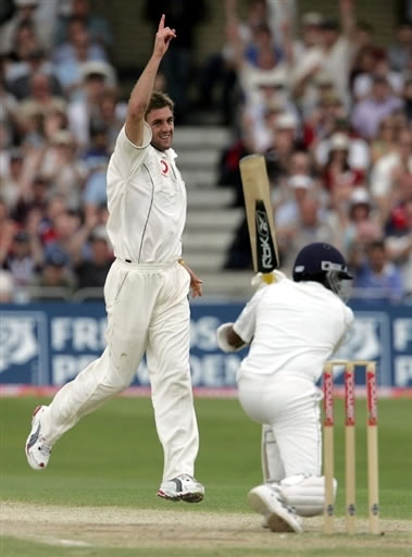 Plunkett celebrates after taking a wicket