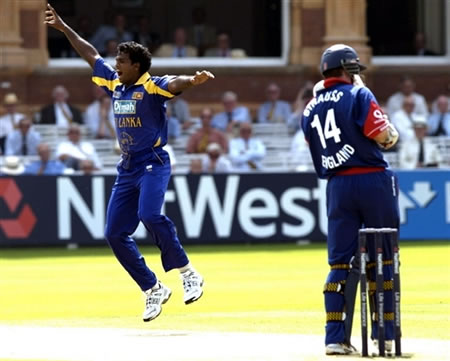 Fernando celebrates after taking a wicket