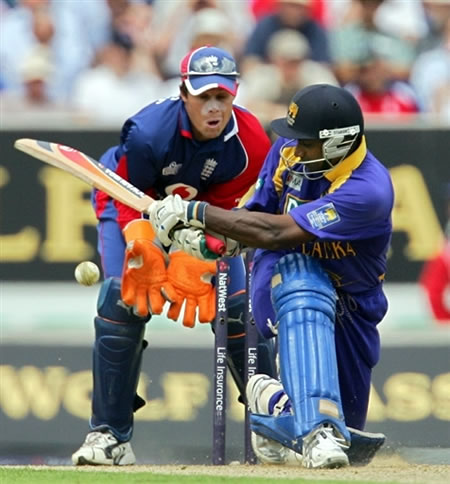Jayasuriya plays a sweep shot
