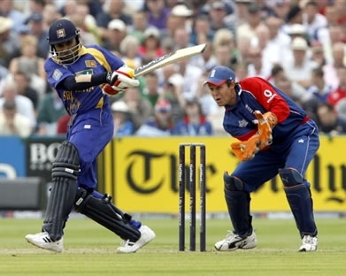 Jayawardene plays a shot