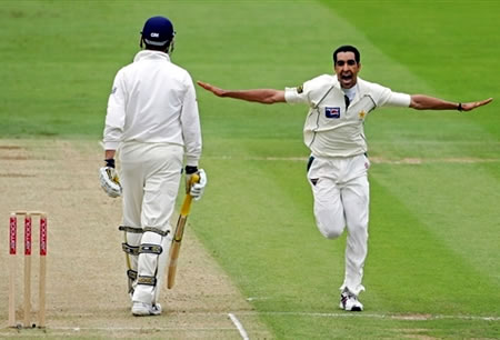 Umar Gul celebrates the wicket of Trescothick