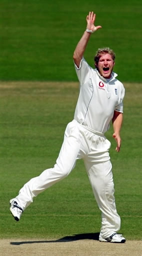 Hoggard celebrates the wicket of Salman Butt